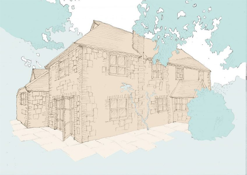 Sketch of South Downs Cottage with new doors
